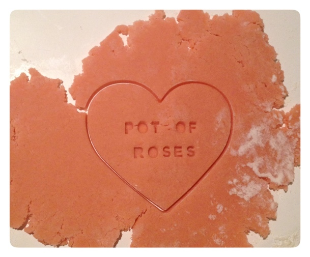 Valentine Typeset Heart Cookies Pot of Roses