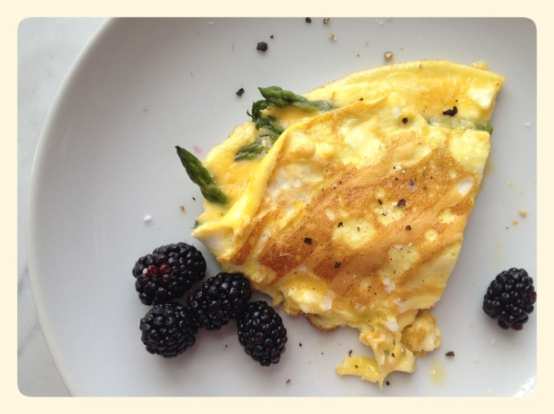 Asparagus and Feta Omelette with  Blackberries