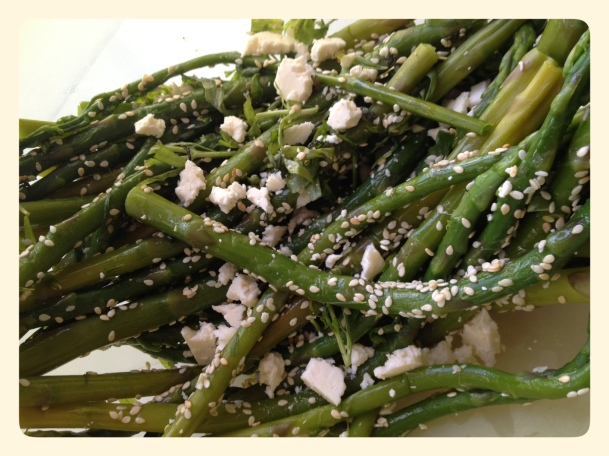 Ottolenghi Asparagus and Samphire with Toasted Sesame Seeds