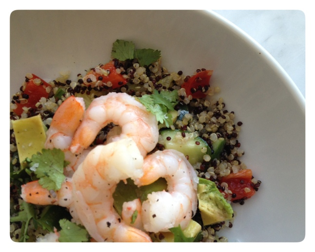 Quinoa Salad with Shrimp, Avocado, Peppers and Cucumber