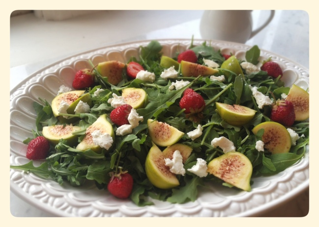 Summer Salad with Green Figs Strawberries Goat Cheese Honey
