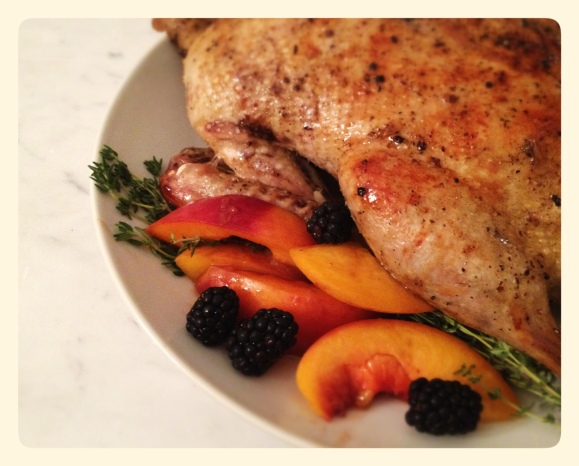 Roast Duck with Peach and Port Wine Sauce