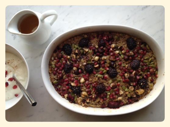 Baked Oatmeal with Chia Seeds, Hemp Hearts and Pomegranate