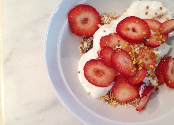 Granola with Strawberries and Bee Pollen